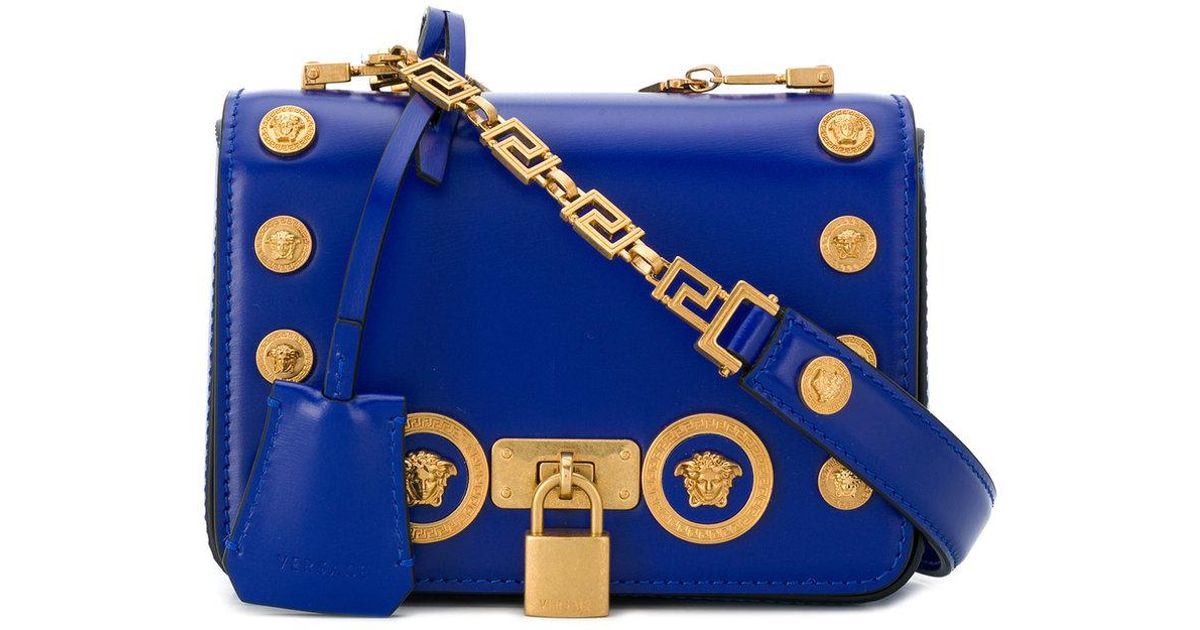 dd685fc98b1 Versace Small Icon Leather Shoulder Bag in Blue - Lyst