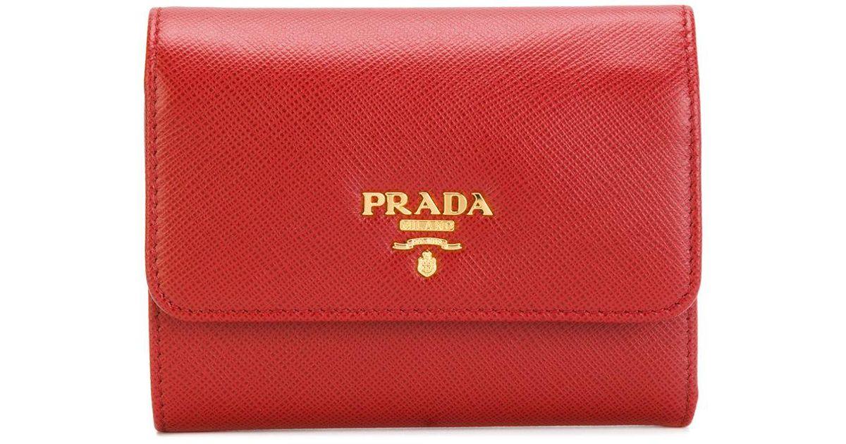 ea2c293b617b ... sweden lyst prada logo trifold wallet in red 71bfe 3120e