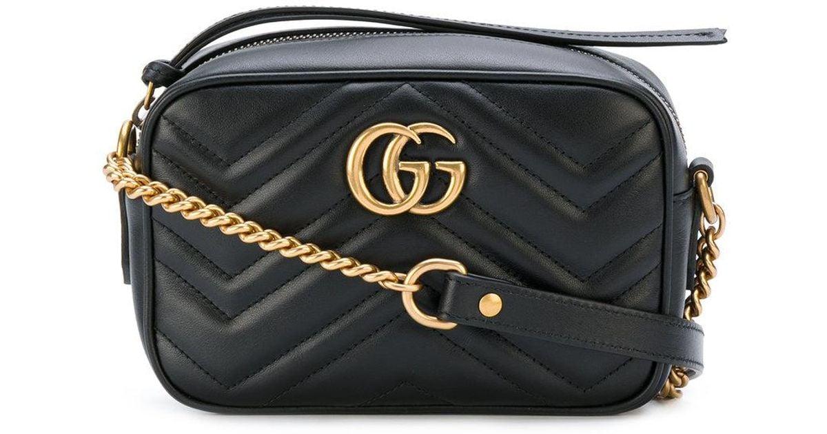 569cdf9f57018d Gucci Gg Marmont Matelasse Mini Bag in Black - Lyst