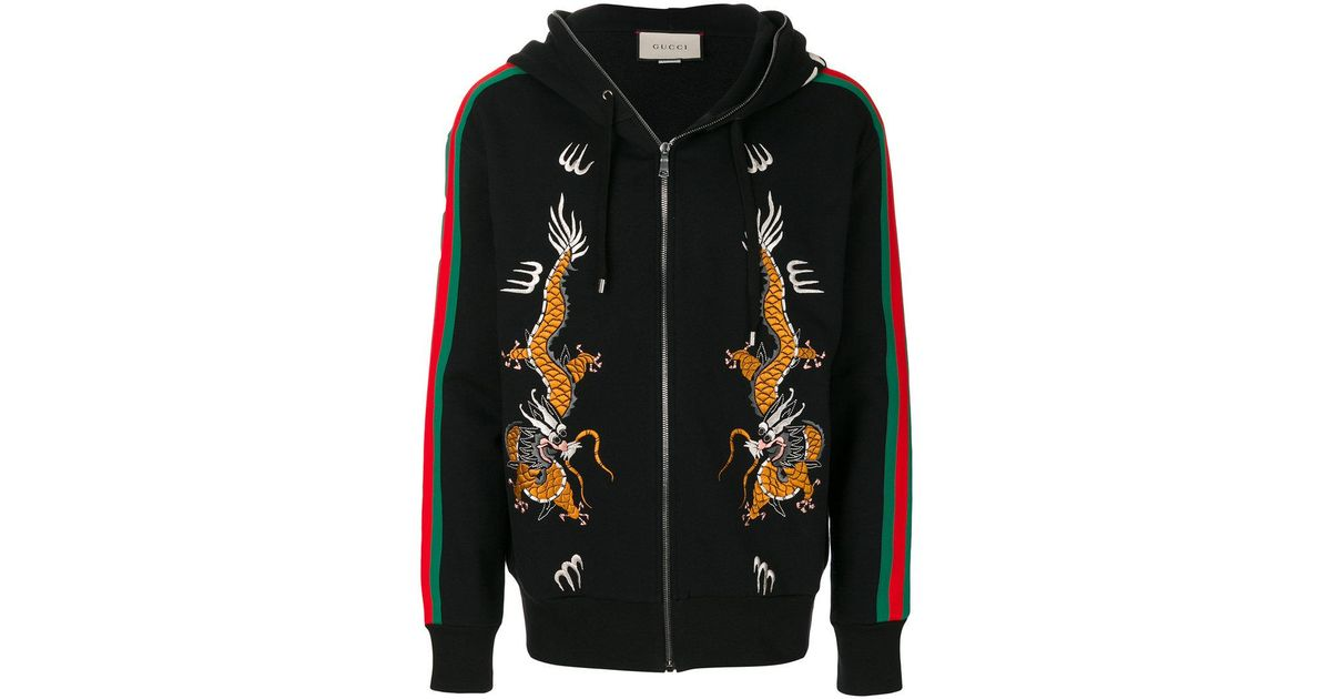 d34934a23e4 Lyst - Gucci Dragon Embroidered Zip Hoodie in Black for Men