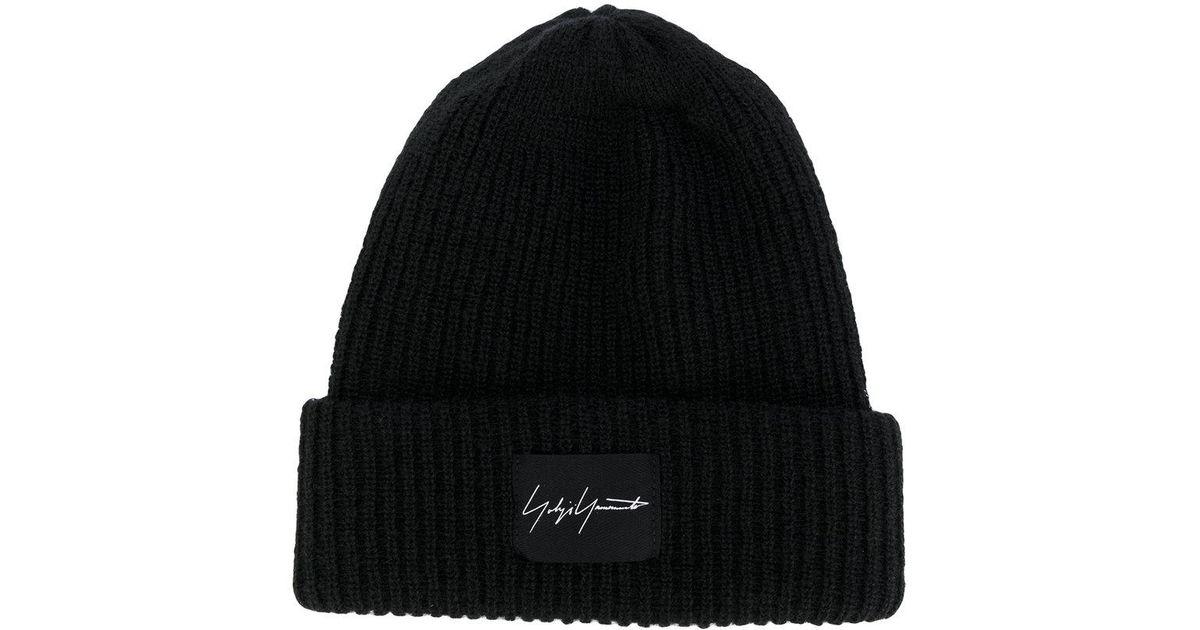 Lyst - Yohji Yamamoto Logo Patch Beanie in Black for Men fbaf50ba36de