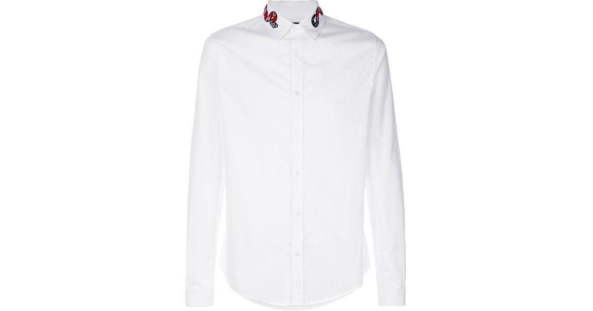 029edd0e762 ... Lyst Gucci Gg Kingsnake Collar Shirt in White for Men