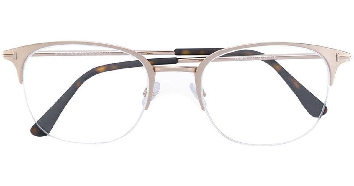 5456938e62a Tom Ford Half Rim Glasses in Metallic for Men - Lyst