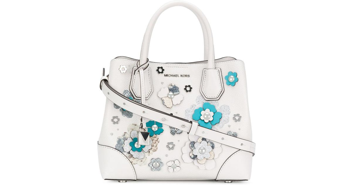 c0454b17e972d1 Michael Kors Floral Embellished Tote in White - Lyst