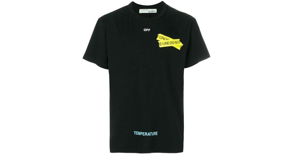 lyst off white c o virgil abloh caution tape t shirt in black for men 69b46790930