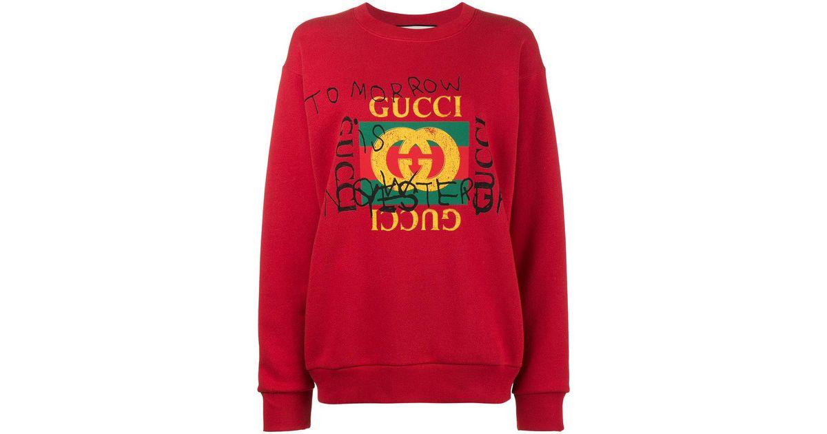 004c49470a60 Gucci Coco Capitán Logo Sweatshirt in Red - Lyst