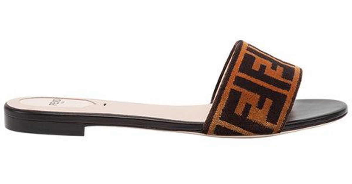 ff8055cf565ed Fendi Open Toe Flat Sandals in Brown - Lyst