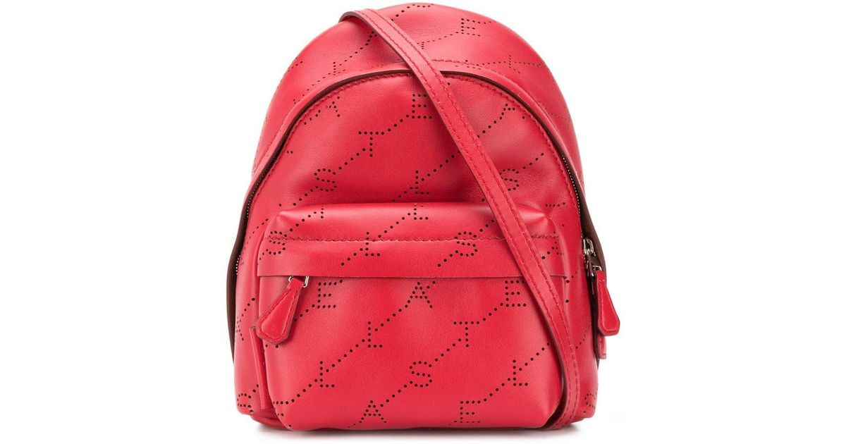 5e44aa7bbd Mini sac à dos à motif monogrammé Stella McCartney en coloris Rouge - Lyst