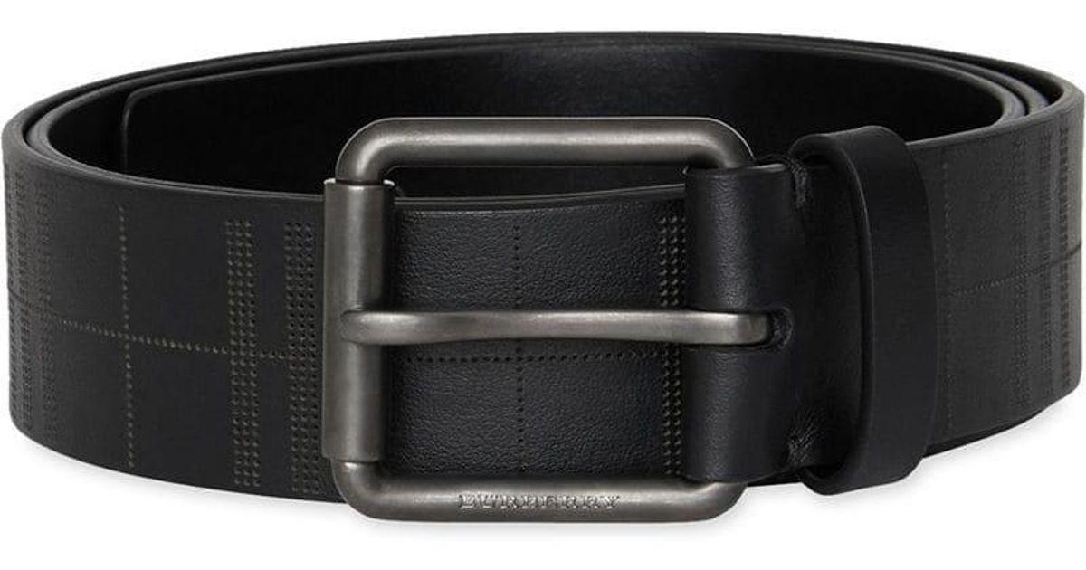 0f434fd408514 Lyst - Burberry Men s Fife Embossed-check Leather Belt in Black for Men