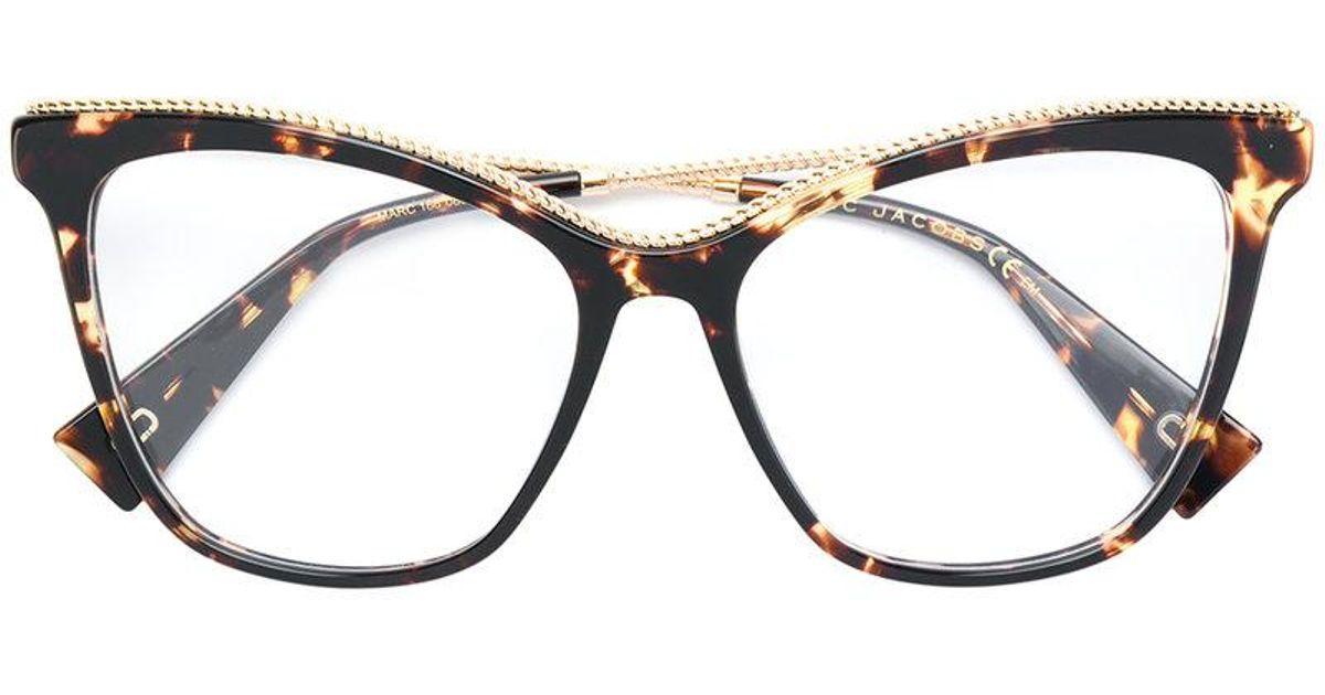 1ef5b7f151 Lyst - Marc Jacobs Oversized Tortoiseshell Cat Eye Glasses in Brown