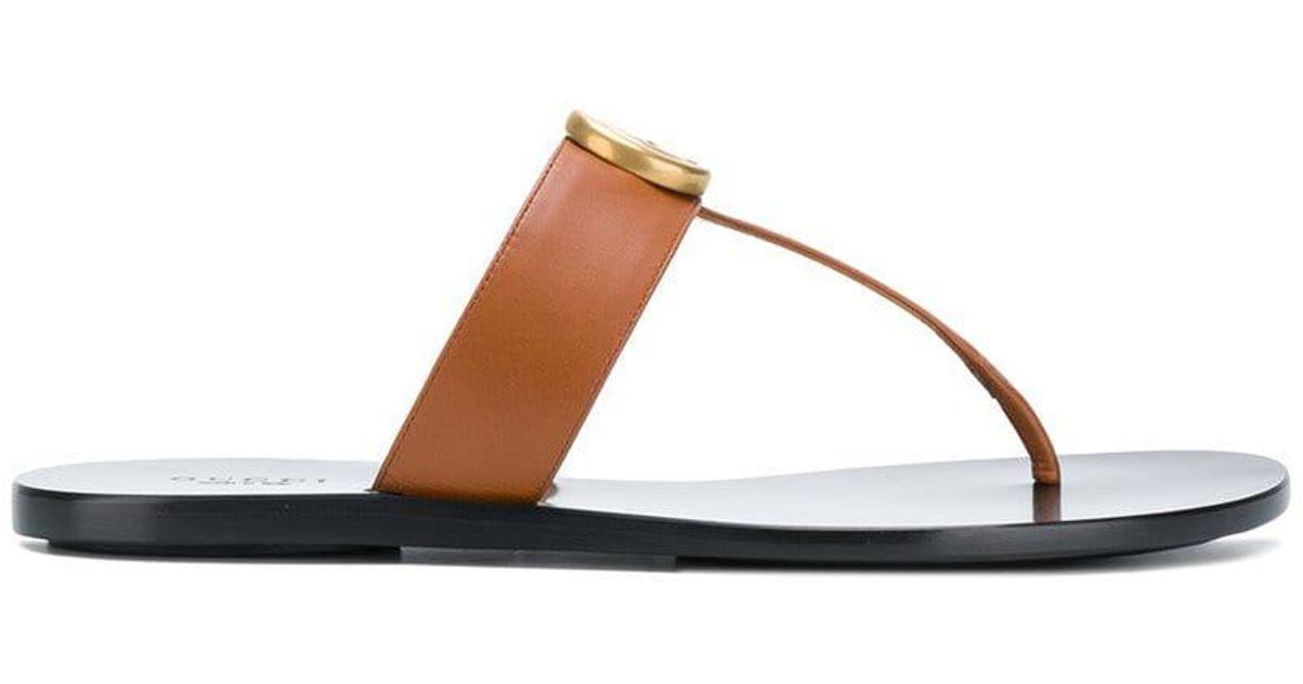 ae01b4df2 Gucci GG Thong Sandals in Black - Lyst
