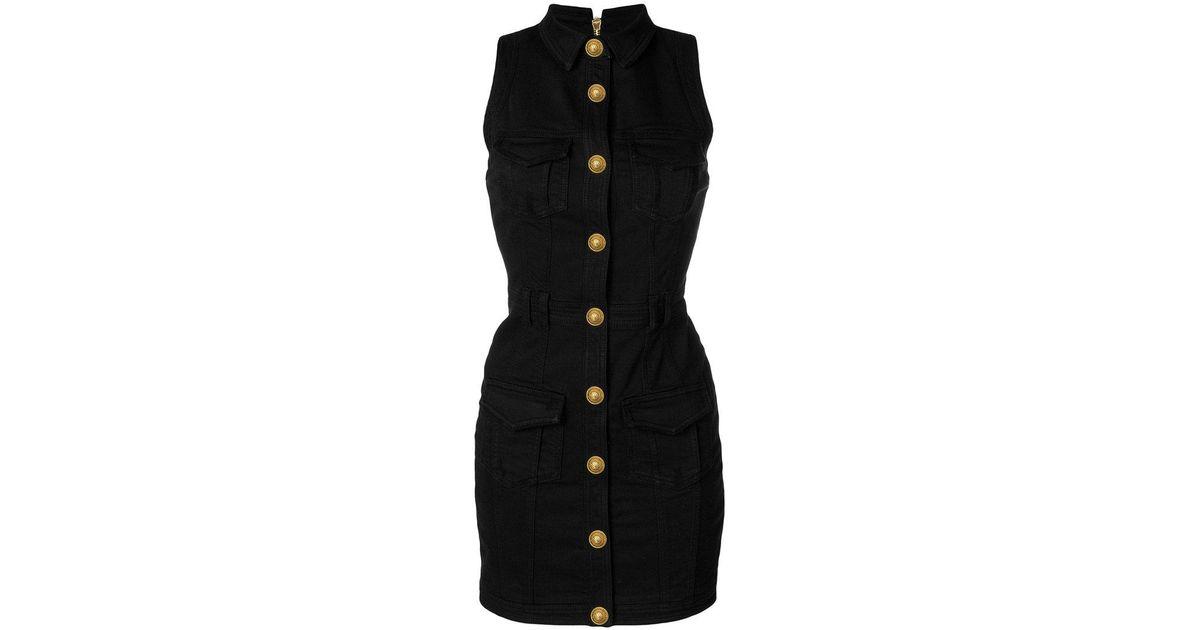 a0e69704d7 Balmain Fitted Denim Dress in Black - Lyst