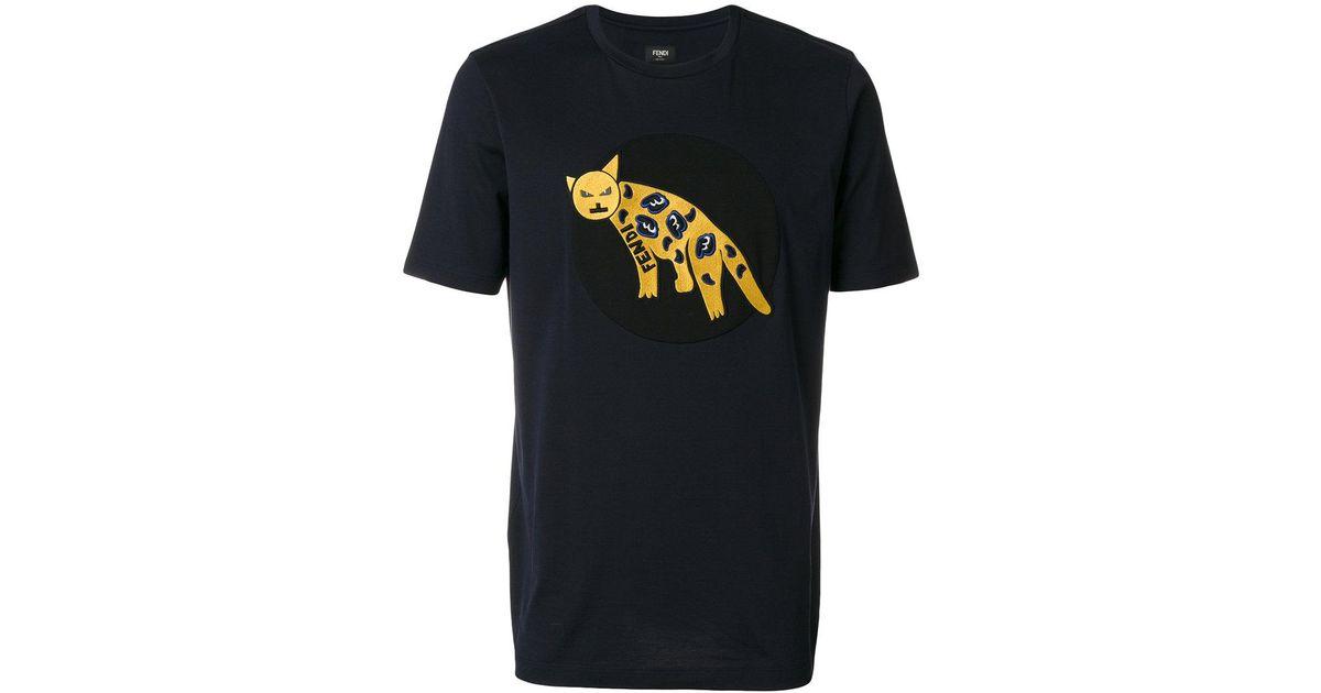 c09d6e368683 Fendi Leopard Patch T-shirt in Blue for Men - Lyst