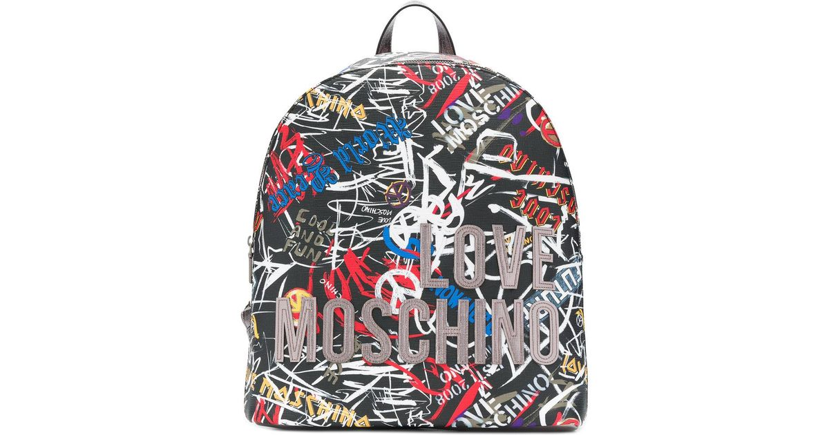 9877365b27a Love Moschino Digital Print Pvc Backpack Nero in Black - Lyst