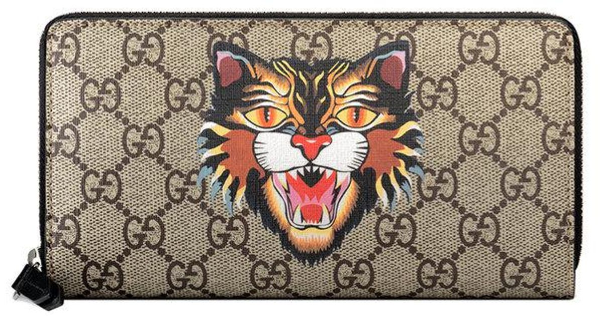 a8593c4b827c Lyst - Gucci Angry Cat Print Gg Supreme Zip Around Wallet