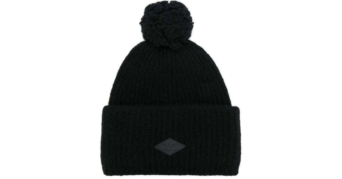 55b64850467 Rag   Bone Logo Patch Bobble Hat in Black for Men - Lyst