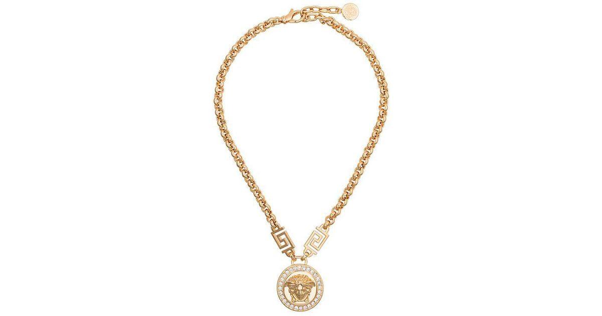 8e73b5e6ce980 Versace - Metallic Medusa Head Crystal Necklace - Lyst