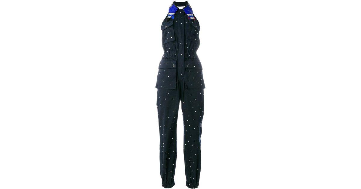 ec3596c7a9 Lyst - Miu Miu Embellished Denim Jumpsuit in Blue