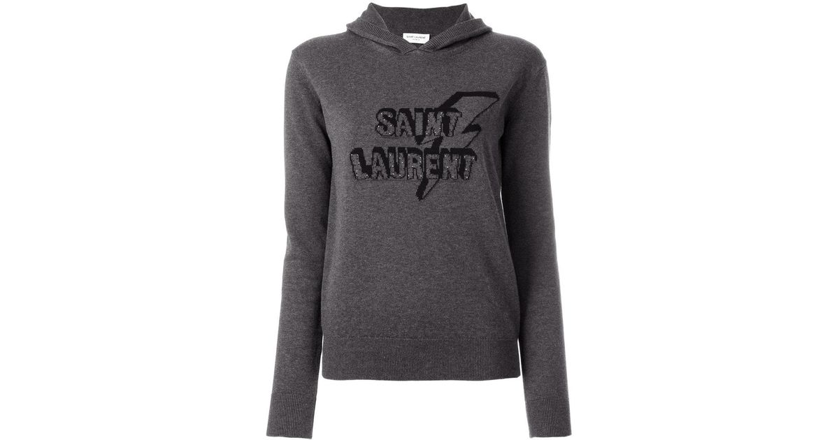 branded knit hoodie - Grey Saint Laurent Buy Cheap Order Discount Low Price Fee Shipping Discounts Online Cheap Sale Get Authentic Free Shipping Deals v5ZEh80h6r