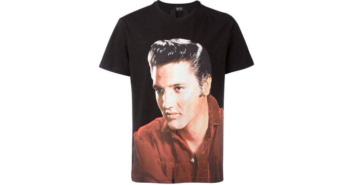 Lyst n 21 elvis t shirt in black for men for Elvis t shirts for men