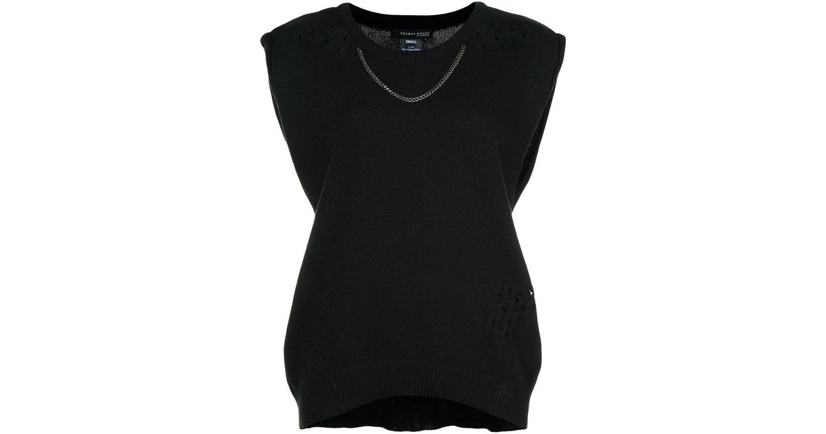 chain and distressed finish sleeveless sweater - Black Thomas Wylde Official Online x3DowhC38