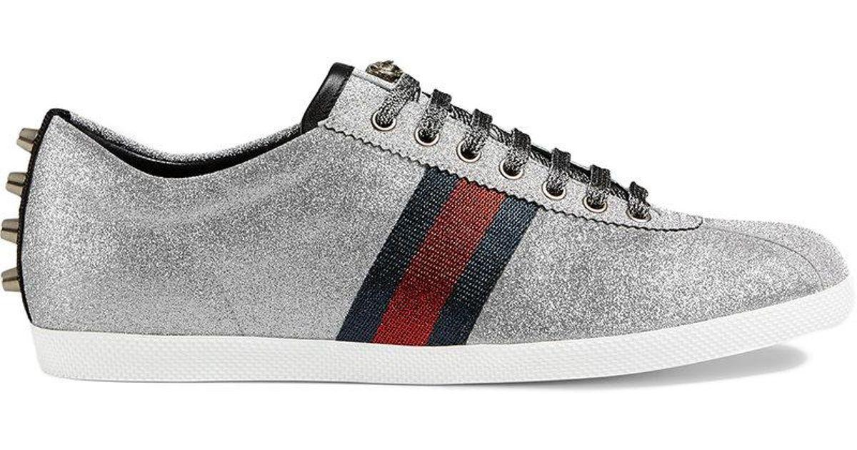 f69ae32e7ba7 Lyst - Gucci Glitter Web Studded Sneaker in Metallic for Men - Save 6%