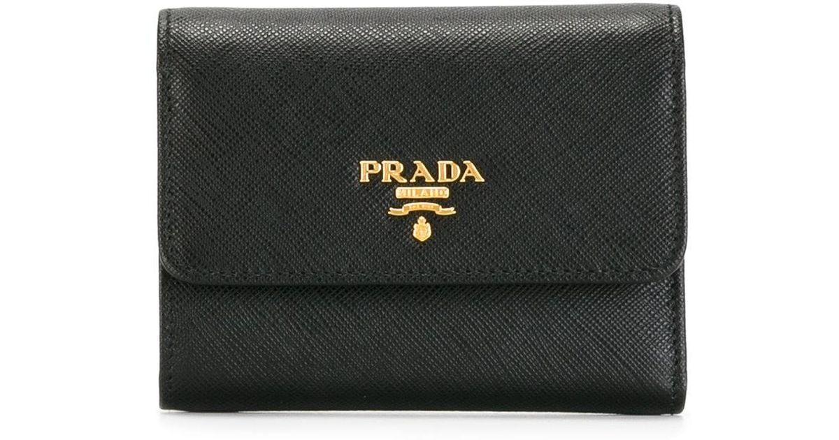 Prada - Tri-fold Wallet - Women - Calf Leather - One Size in Black - Lyst 6703a7dcbfd3a