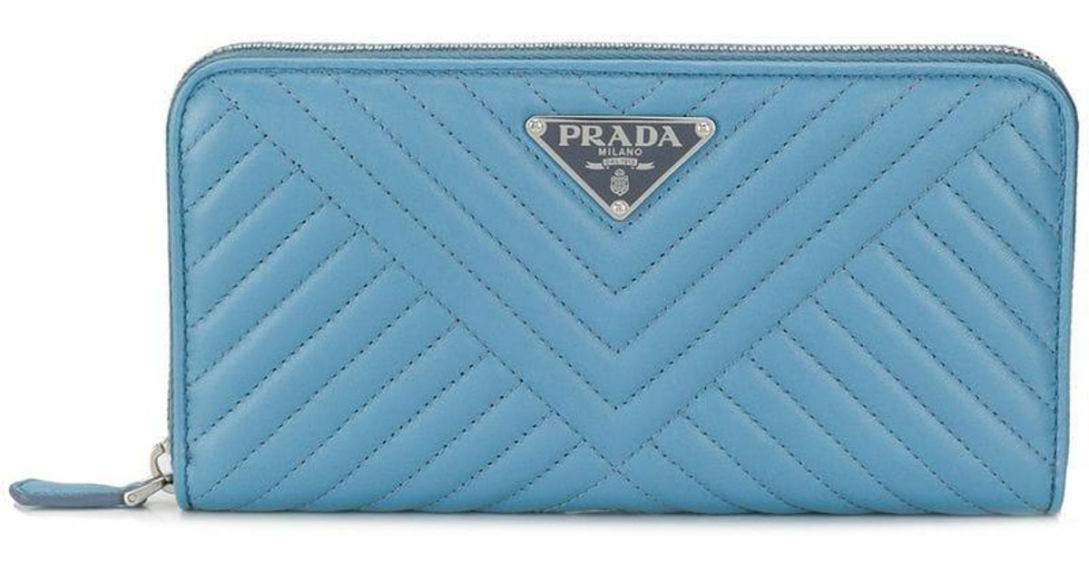 38358c8ae65a Lyst - Prada Logo Plaque Quilted Wallet in Blue