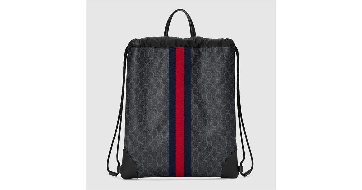 a37d770f56cb72 Lyst - Gucci Soft Gg Supreme Drawstring Backpack
