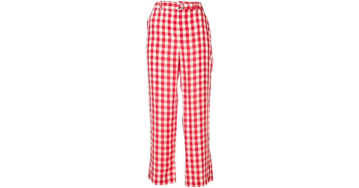 From China For Sale Clearance Great Deals gingham straight-leg trousers Red Valentino Free Shipping Wide Range Of Fashionable For Sale Nice V7iEB9gN