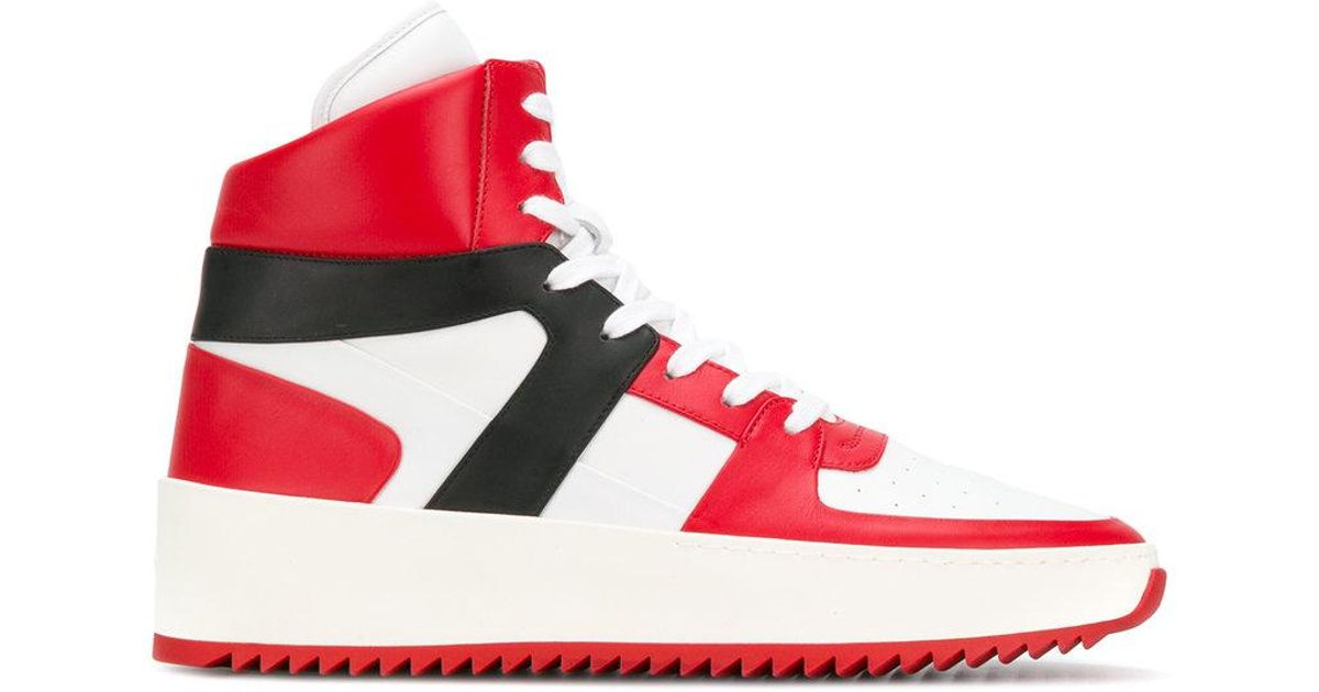 d09d879ce Lyst - Zapatillas altas de paneles Fear Of God de hombre de color Rojo