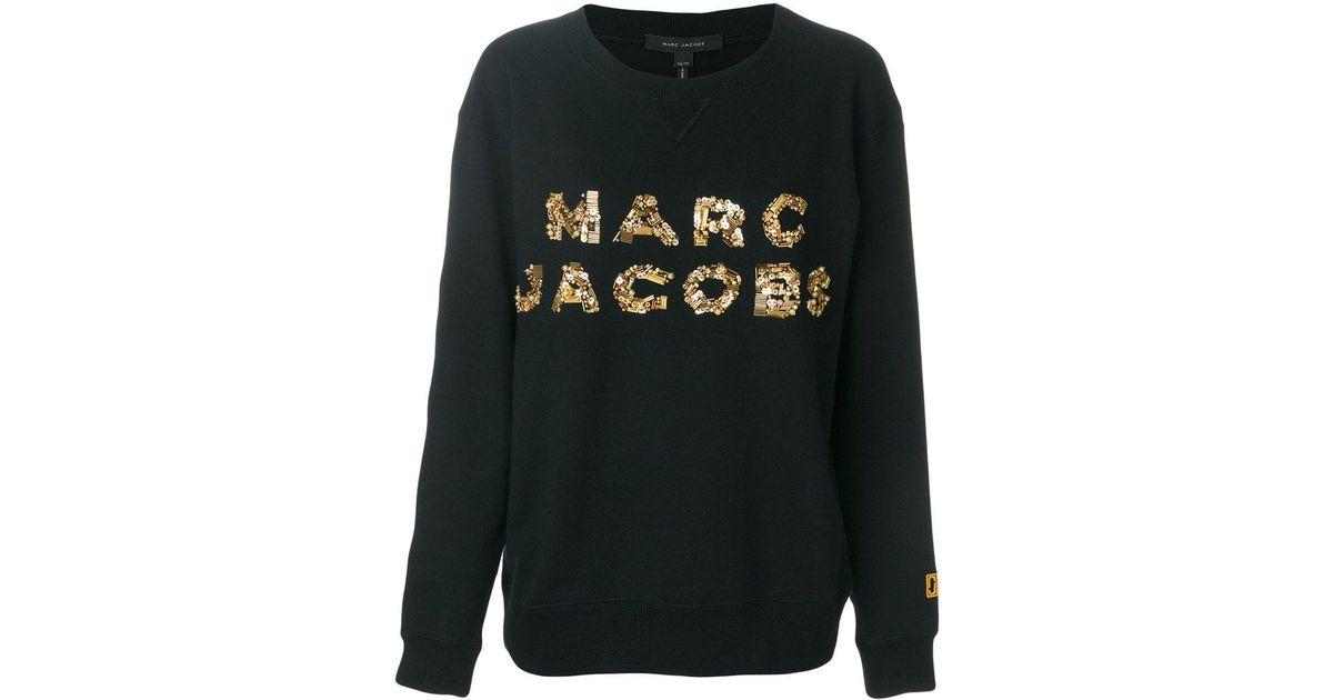 3628d1da Marc Jacobs Sequin Logo Sweatshirt in Black - Lyst