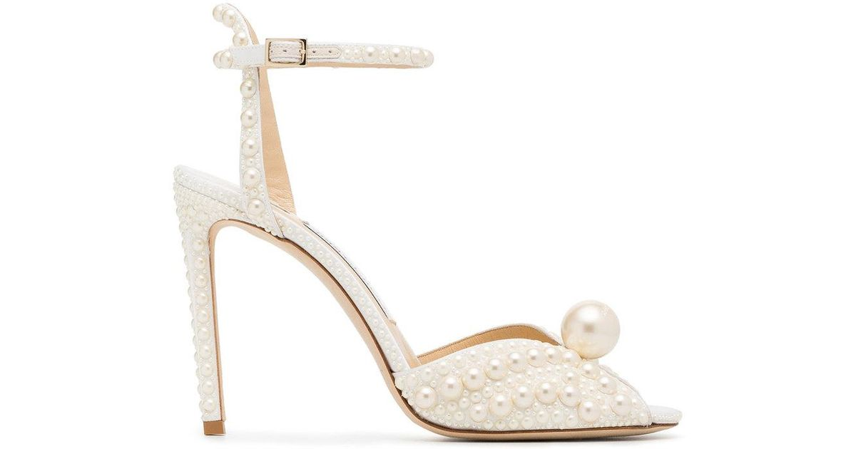 cf4a874ab41 Lyst - Jimmy Choo White Sacora 100 Leather in White