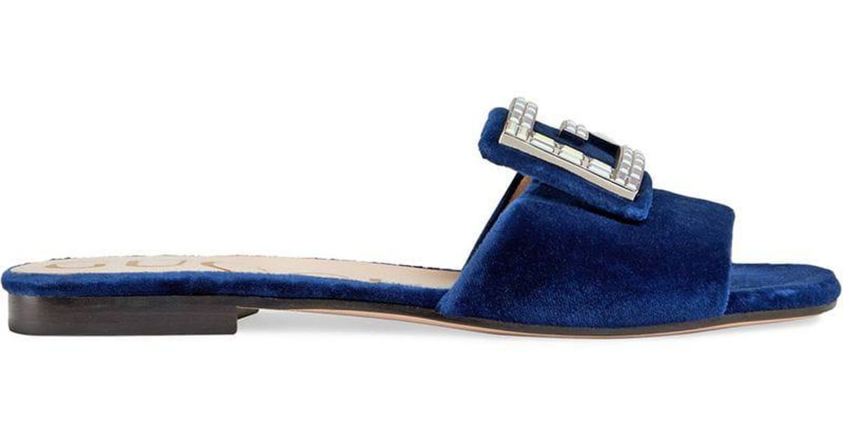 b01685e20 Lyst - Gucci Velvet Slides With Crystal G in Blue