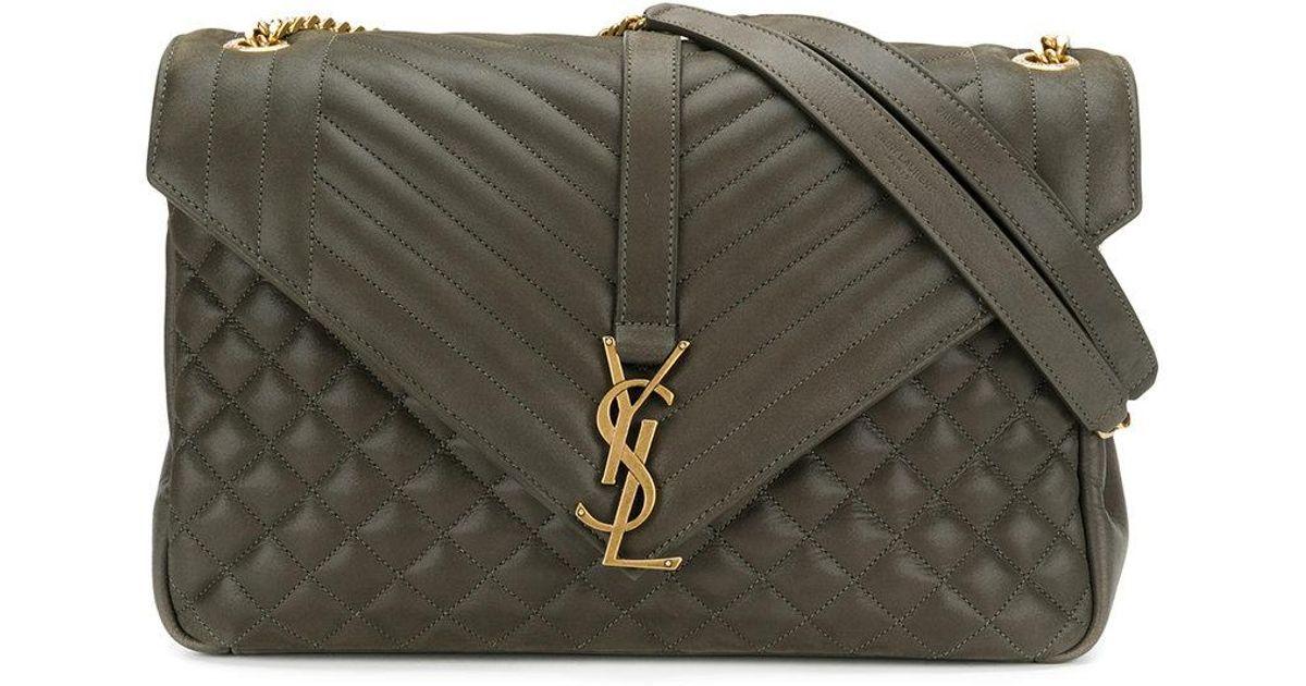 a808874d1658b Lyst - Saint Laurent Large Soft Envelope Shoulder Bag in Green