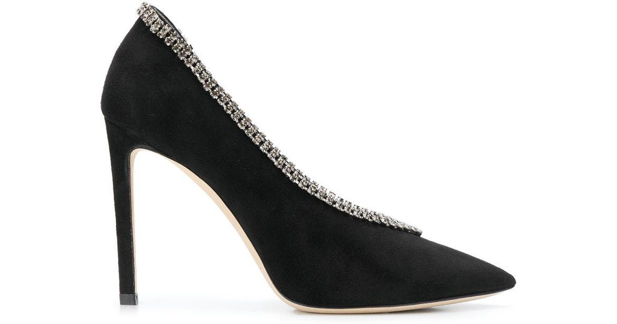 1aa97f761b9 Jimmy Choo Lilian 85 Crystal-embellished Suede Pumps in Black - Save 50% -  Lyst