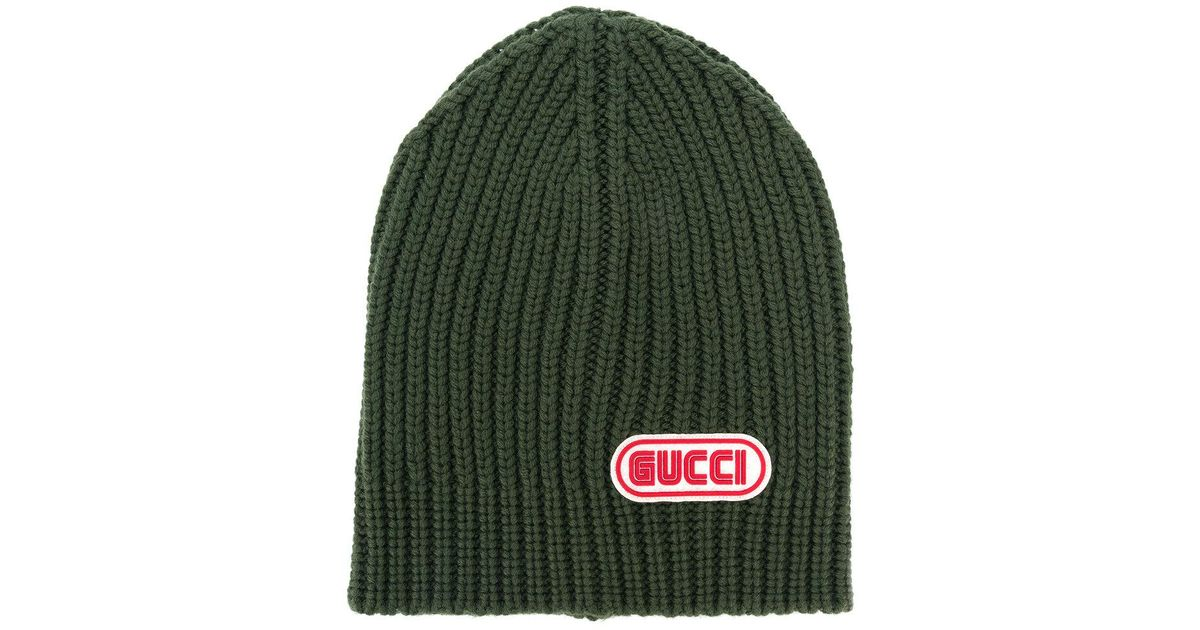 Gucci Logo Patch Beanie in Green for Men - Lyst 1464b26c25a