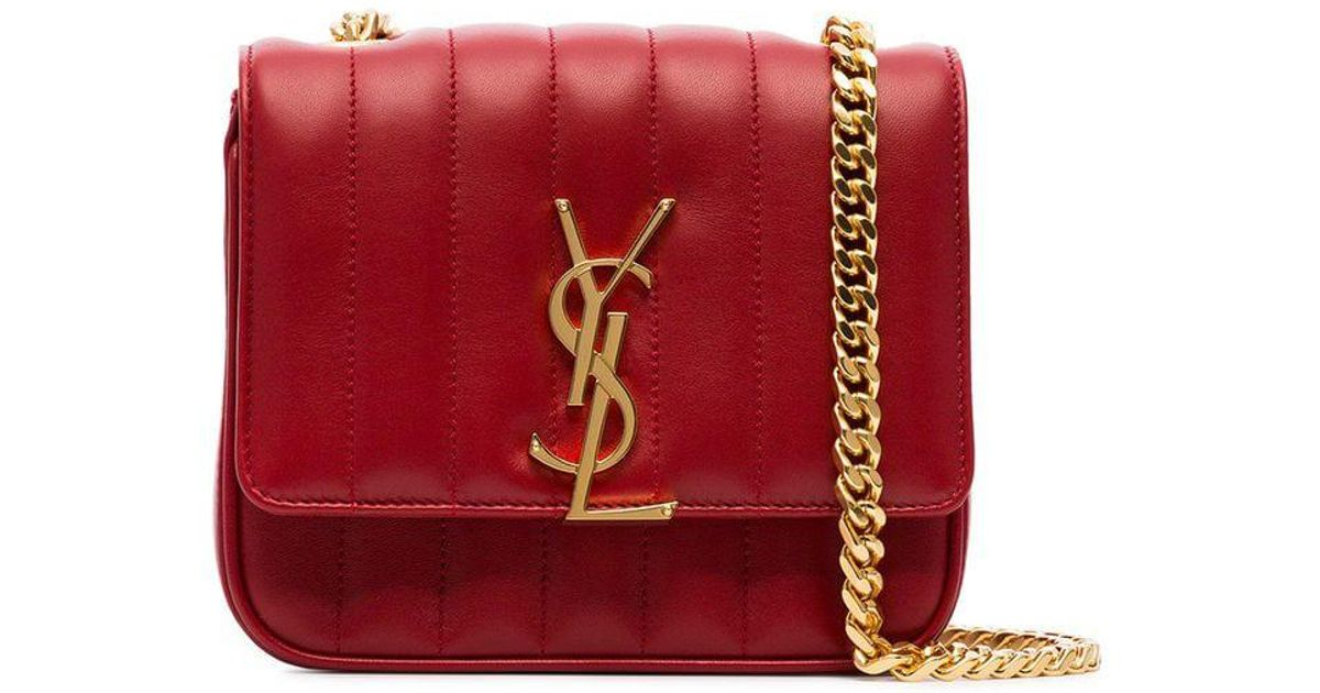 Lyst - Saint Laurent Red Vicky Small Quilted Leather Bag in Red b4d2ce2dd567c