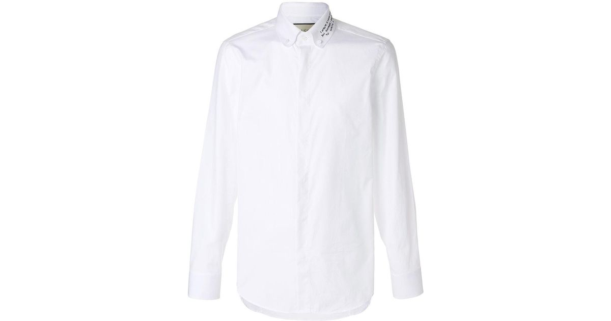 7fc8b5891dd Gucci Long Letter Embroidered Shirt in White for Men - Lyst