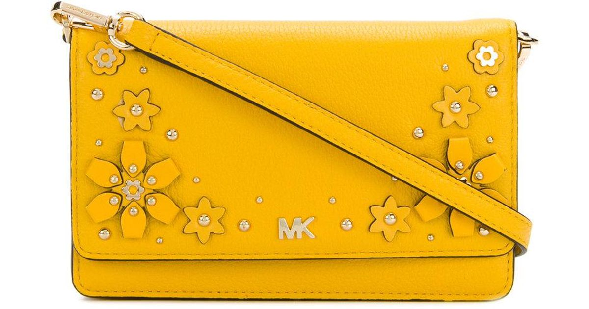 d68c8fb54cef MICHAEL Michael Kors Floral Embellished Crossbody in Yellow - Lyst
