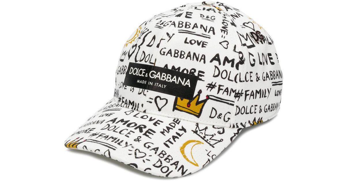 4ef65c217eb84 Lyst - Casquette à imprimé façon graffiti Dolce   Gabbana pour homme en  coloris Blanc