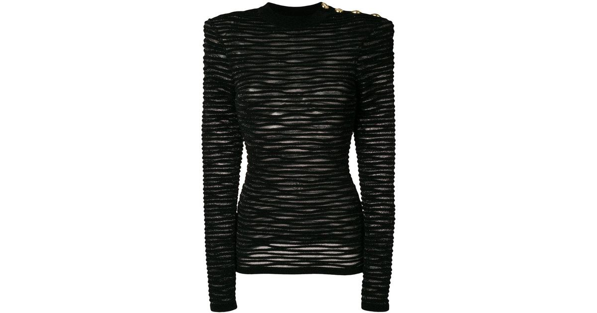 9e4fd2b508aa1 Balmain Ribbed Velour Jumper in Black - Lyst