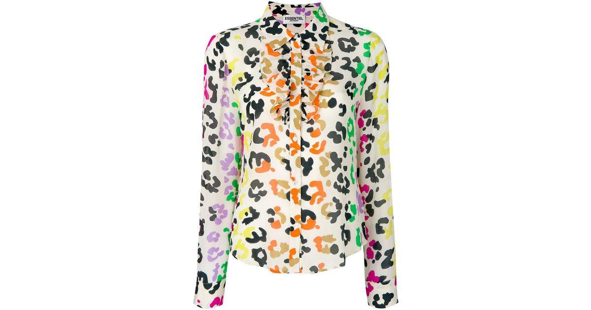 2328d6b7cf Essentiel Antwerp - Multicolor Leopard Print Ruffle Shirt - Lyst