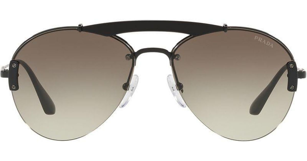 295b3de8253 czech prada classic aviator sunglasses in black for men lyst 8a7f4 a78a1