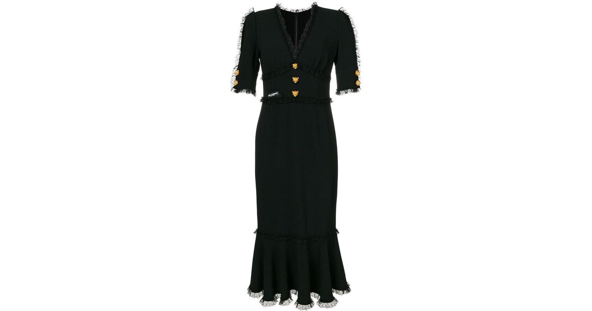 Lyst - Dolce & Gabbana Leopard Charm Dress in Black