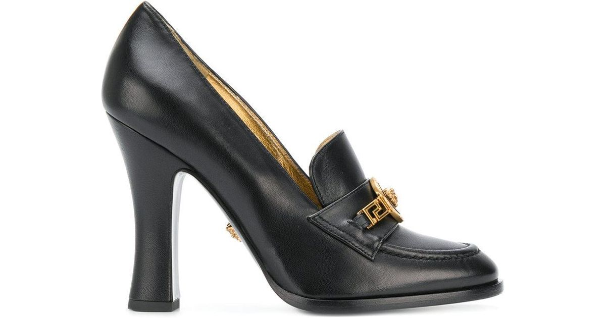 bef0ff48e69 Lyst - Versace Leather Tribute Pumps in Black