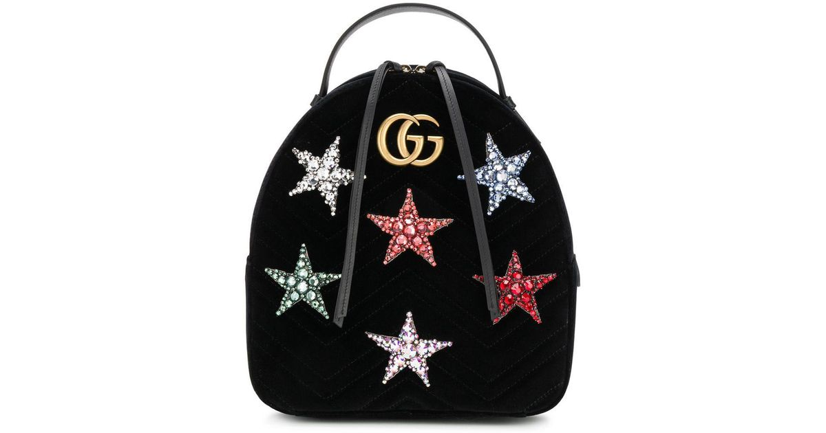 90f05813a6d Lyst - Gucci Marmont 2.0 Crystal Stars Velvet Backpack in Black - Save 9%