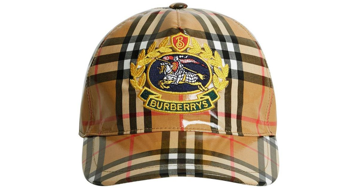 ecfd84d3d8d30 Burberry Archive Logo Coated Vintage Check Baseball Cap in Brown for Men -  Lyst