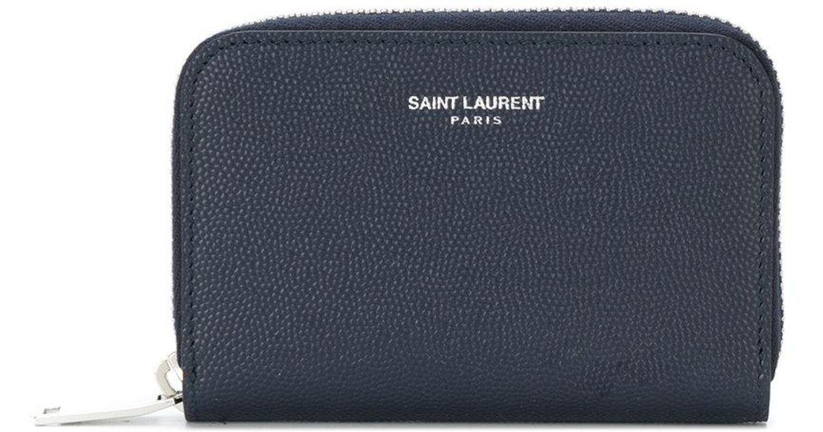a01a852246d Lyst - Saint Laurent Classic Zip Around Wallet in Blue for Men