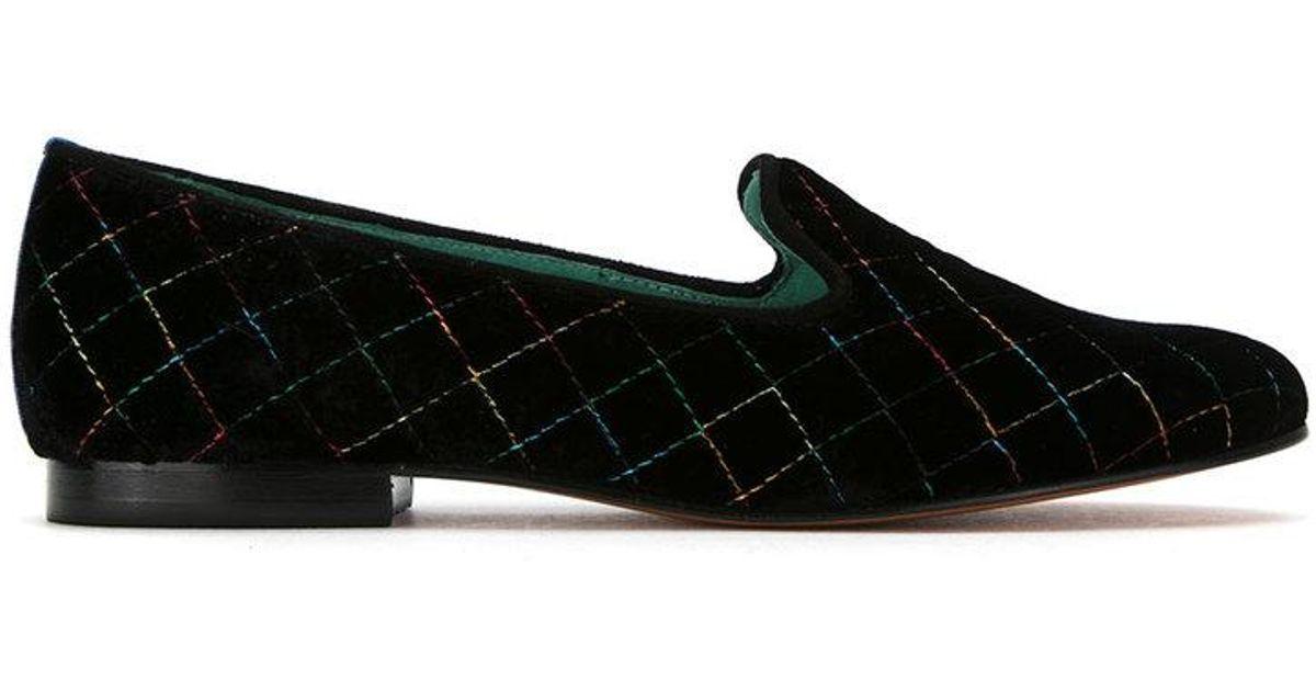 quilted velvet Colors loafers - Black Blue Bird Shoes Ugk7fe